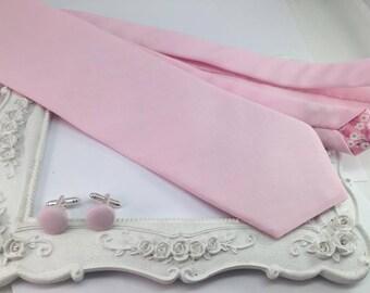 Solid pink tie - men