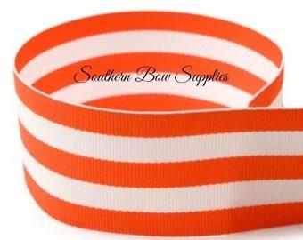 1.5 inch Grosgrain Ribbon---3 Yards---Stripes---Orange White--Hair bow Making Supplies
