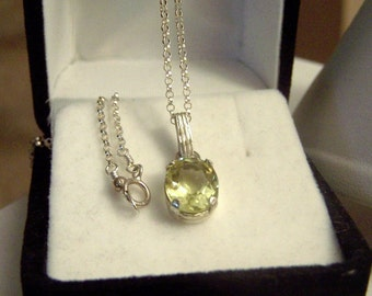 Sterling Oval Solitaire Gemstone Pendant Necklace Genuine Lemon Yellow Quartz Artisan Altered Authentic Vintage
