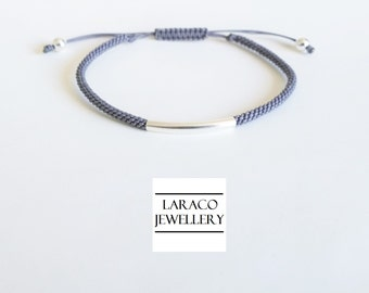 Laraco Jewellery - Sterling Silver Curve Tube Bead Friendship Bracelet