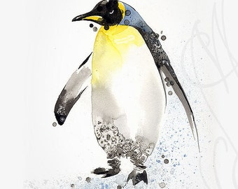 "Martinefa's Original watercolor and Ink ""Penguin"""