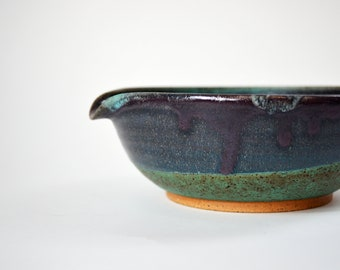 Handmade Ceramic Matcha Bowl with a Green and Purple Glaze