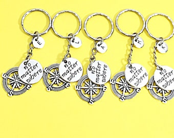 Set of 5 bff keychains, bff charm, bff keychain, set of 5 best friend,no matter where bff,personalized,customized,initial keychain, bff gift