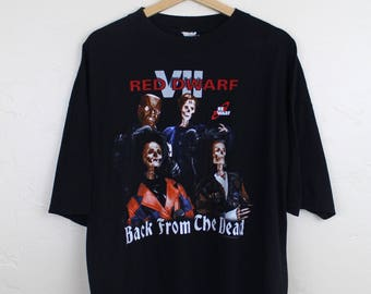 1996 Vintage Red Dwarf T-Shirt Red Dwarf VII Back From The Dead British Comedy Science Fiction Sitcom TV Graphic Shirt Back T-Shirt Size XL
