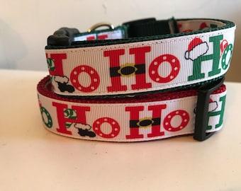 1 inch Ho Ho Ho Holiday Christmas Collar on Red, Green or Black Nylon