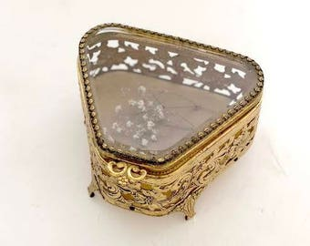 Antique French Ormolu Gold & Beveled Glass Jewelry Box