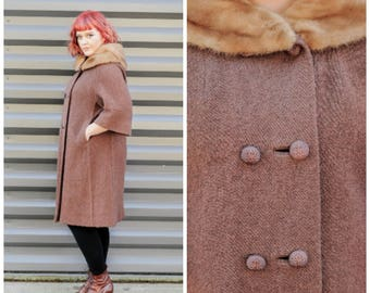 winter coat fur coat long coat wool coat mid century 1950s coat 1960s 50s coat rockabilly swing coat vintage clothing,