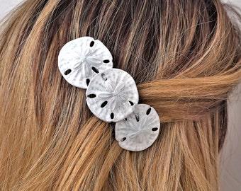 Hair Barrette with Seashells, Sand dollar hair barrette ( shells not real )