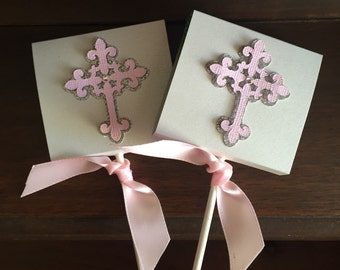 Pink and Silver Baptism Christening Cross Lollipop Favors