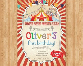 Circus birthday invitation. Boy Carnival birthday party invite. Red circus tent bday invites. Vintage. Come one come all. Printable digital.