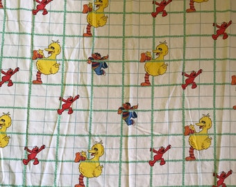 Sesame Street, twin flat sheet, Ernie, Elmo sheet, Big bird climbing characters kids tv show linens