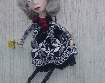 OOAK Art Doll Brooch Livia