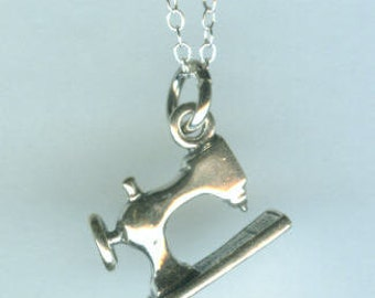 Sterling SEWING MACHINE Pendant with Chain -  Seamstress, Tailor, Designer, Craftsman