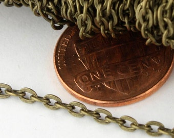 50ft. of Antique Brass Finished Flat Cable Chains - 3x2mm unsoldered
