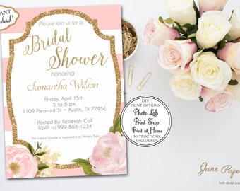 INSTANT DOWNLOAD - Floral Blush Pink and White Stripe - Peony Flowers - Gold Glitter and Blush Pink Bridal Shower Invitation - 0149
