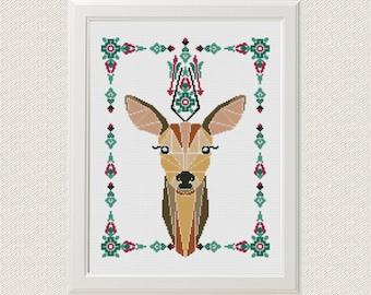 Geometric Deer Cross Stitch pattern, Deer Pattern, Mountain Forest Woodland Animals, Modern Cross Stitch, Animal Cross Stitch flower