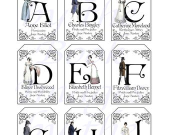 Jane Austen's Alphabet with Regency Fashions Printables, GIFT TAGS (2 x 3 inches)