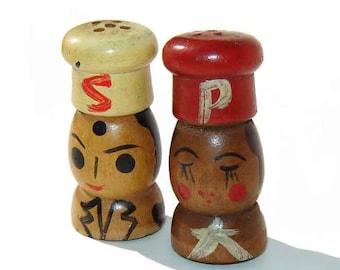 Vintage Salty & Peppy Salt Pepper Shakers Painted Wood