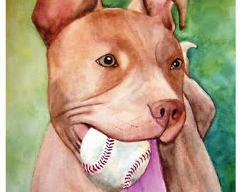 Custom pet portrait 9x11 original watercolor pet painting