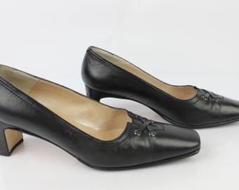 Vintage shoes DONNA UK 5.5 black leather shoes / en 39 very good condition (1946)