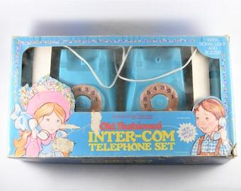 Vintage Old Fashioned Inter-Com Telephone Set Mehanotehnika Yugoslavia 1980's Battery Operated Toy