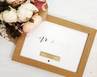 Silver Foil Mr And Mrs Personalised Wedding Day Gift