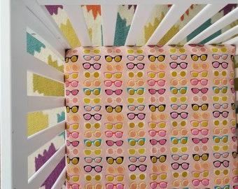 Fitted Crib Sheet - Beach Crib Sheet - Modern Nursery - Baby Bedding - Crib Sheets - Beach Nursery Decor - Girl Crib Sheet - Sunflower Decor