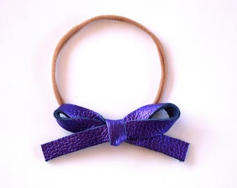 Purple Metallic LARGE Leather Bow One Size Fit All Elastic Adorable Photo Prop for Newborn Baby Little Girl Child Adult Summer Headwrap