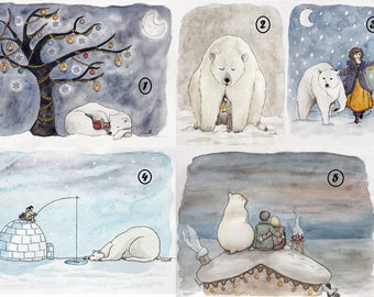 """Set of 5 """"bear"""" 2 greeting cards with envelopes - A6 size card"""