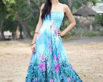 Blue Floral Maxi Dress Sundress Women Plus Size Dress Clothing Cute Dress Fancy Hanky Dress Full Length Long Hawaiian Dress Summer