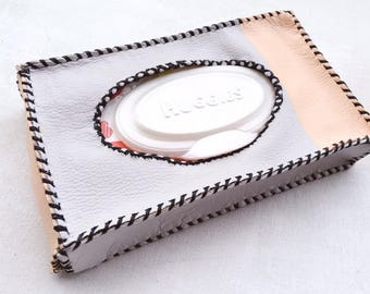 Leather Baby Wipe Case- Grey and Rose gold- Wipe Case- Baby Wipe Case- diaper bag- baby gift- baby shower