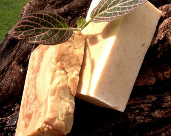 Sweet Pea scented organic goat's milk soap with Moroccan red & bentonite clays