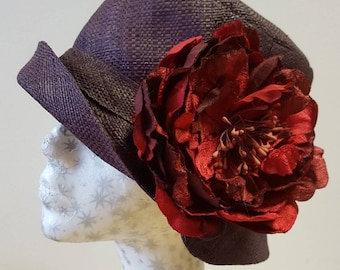 Chestnut Raffia Cloche 20's Style Sun Hat with Red Velvet and Silk Peony