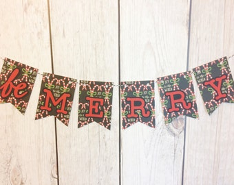 Be Merry Banner, Christmas Banner, Holiday decor