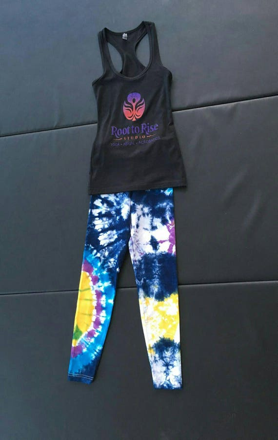 Tie Dye Leggings/Hand Dyed/Womens Tie Dye/Navy, Bright Yellow, Raspberry & Turquoise/Eco-Friendly Dying