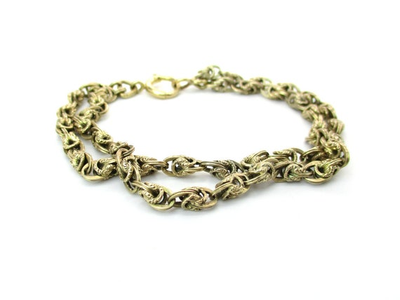 Antique Victorian Gold Chain Bracelet 10K 12K Fancy Engraved Links Two Strand Starter Charm Vintage Spring Ring Clasp Jewelry 7.5 in. 17.3 g