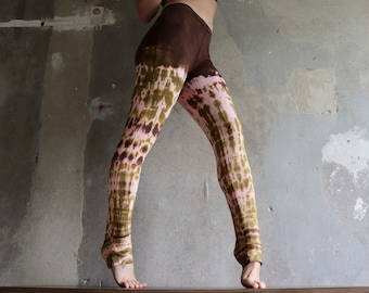 Brown leggings * Crazy Giraffe, Gr. m, batik, trousers, Yogapants, yoga leggings, festival, Goa