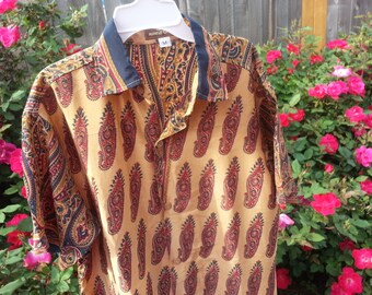 Youth Boys Short Sleeve, Ethnic Indian Sari Silk Button Down Shirt - Tan Paisley - Gerard 3073