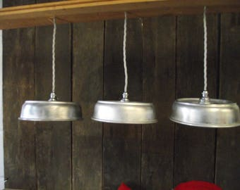Upcycled Aluminum Plate Cover Lamps