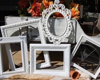 Picture Frames / Shabby Chic Frame Set / Set Of 5 Ornate White Frames / Wedding / Gallery Wall Frames