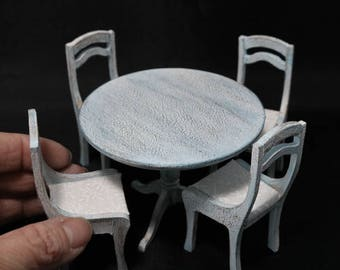 Miniature Shabby Chic Round table and Chairs