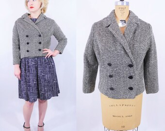 "1950s herringbone jacket   black white double breasted short herringbone jacket   vintage 50s jacket   W 40"""