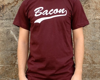 Bacon Breakfast T-shirt, Men's American Apparel Maroon Brown Tee