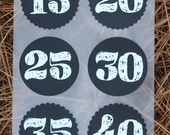 Chalkboard Circular Numbered Stickers