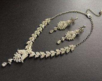 Chandelier Teardrop Wedding Chandelier Jewelry Rhinestone Crystals Jewelry Set, Wedding Jewelry, Bridal Jewelry, Crytals Necklace, Engaged