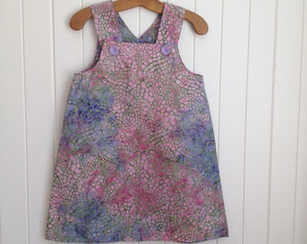 Toddlers Girls  summer pastel bubble patterned dress overall in 100% Batik cotton