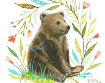 Bear Art Print | Watercolor Painting | Nursery | Woodland Animal | Floral | 8x10 | 11x14