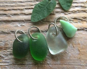 MERMAID TEARS...4 small genuine sea glass milk glass pendants,green white ocean finds rustic wedding jewelry Christmas stocking