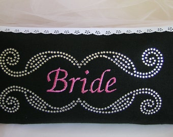 Bride Clutch, Bride's Embroidered and Rhinestone Wedding Clutch, Embroidered Clutch