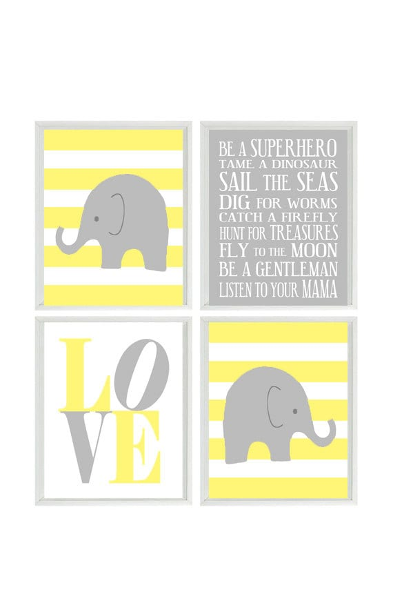 Nursery Art Elephant Stripes Baby Boy Nursery Prints Gray